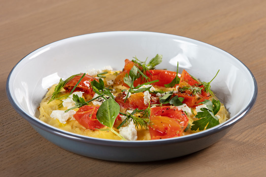 Folded Eggs with roasted tomatoes and goat cheese